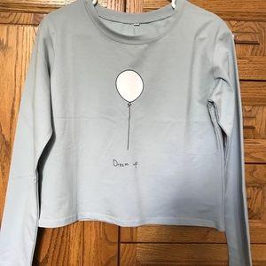 Light blue/gray balloon cropped shirt